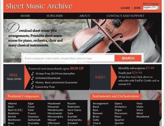 Main page screenshot of sheetmusicarchive.net