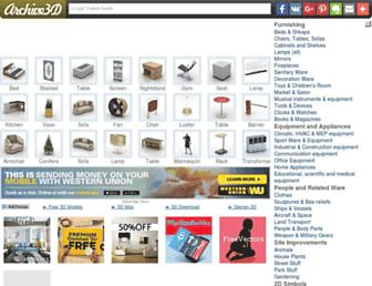 Main page screenshot of archive3d.net