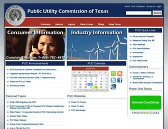 Main page screenshot of puc.state.tx.us