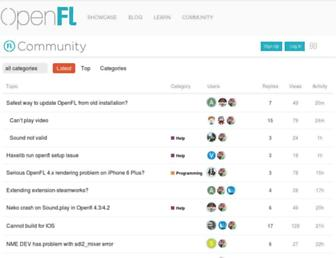 community.openfl.org screenshot