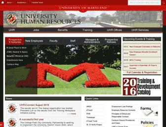 Main page screenshot of uhr.umd.edu