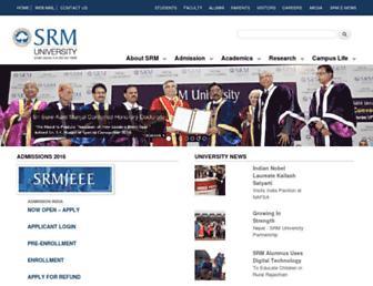 Main page screenshot of srmuniv.ac.in