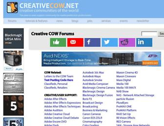 Main page screenshot of forums.creativecow.net