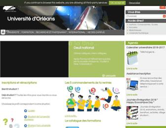 Main page screenshot of univ-orleans.fr