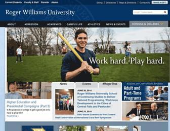 Main page screenshot of rwu.edu