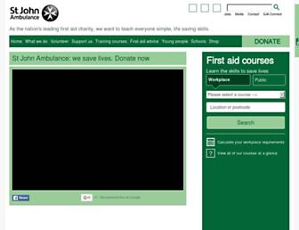 Main page screenshot of sja.org.uk
