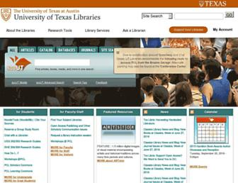 Main page screenshot of lib.utexas.edu