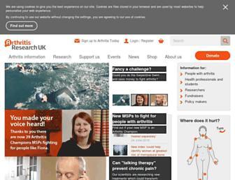 Main page screenshot of arthritisresearchuk.org