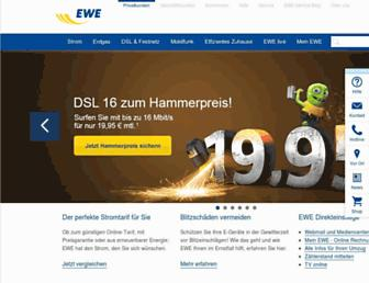Main page screenshot of ewe.de