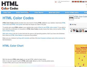 Main page screenshot of html-color-codes.info