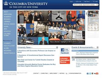 Main page screenshot of columbia.edu