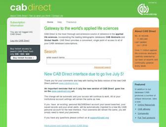 Main page screenshot of cabdirect.org