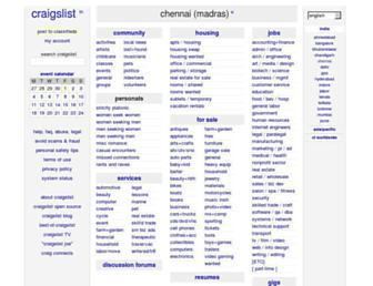 Main page screenshot of chennai.craigslist.co.in