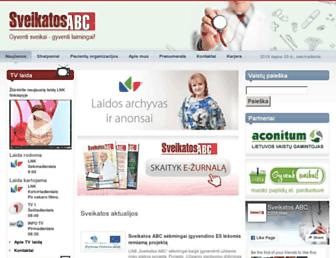 Main page screenshot of sveikatosabc.lt