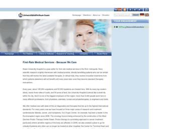 Main page screenshot of uniklinikum-essen.de