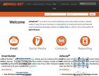Main page screenshot of admail.net