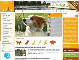 Main page screenshot of tierschutz-berlin.de