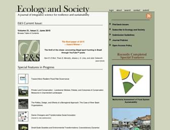 Main page screenshot of ecologyandsociety.org