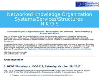 Main page screenshot of nkos.slis.kent.edu