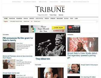 Main page screenshot of tribune.com.pk