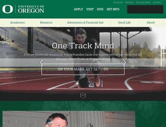 Main page screenshot of uoregon.edu