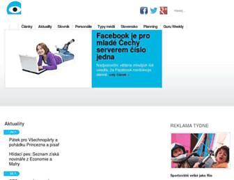 Main page screenshot of mediaguru.cz