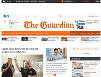 Main page screenshot of theguardian.pe.ca