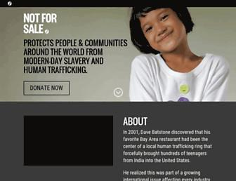 Main page screenshot of notforsalecampaign.org