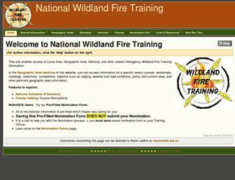 Main page screenshot of nationalfiretraining.net