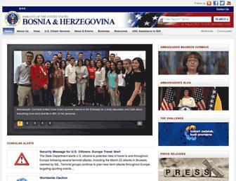 Main page screenshot of sarajevo.usembassy.gov