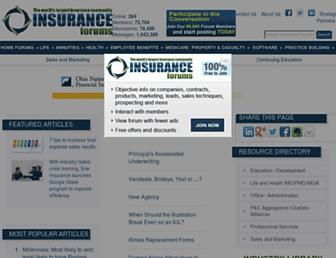 Main page screenshot of insurance-forums.net