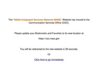 Main page screenshot of nisn.nasa.gov