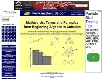 mathwords.com screenshot
