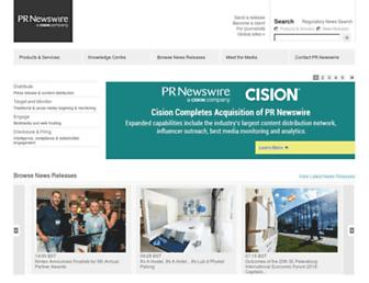 Main page screenshot of prnewswire.co.uk