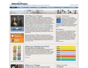 Main page screenshot of unmillenniumproject.org