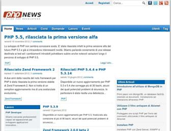 Main page screenshot of phpnews.it