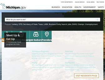 Main page screenshot of michigan.gov