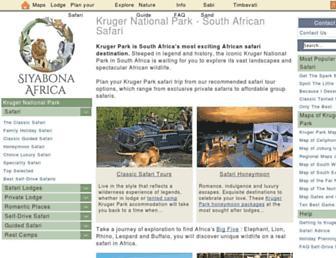 Main page screenshot of krugerpark.co.za
