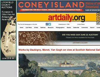 Main page screenshot of artdaily.org