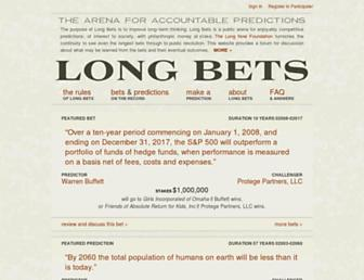 Main page screenshot of longbets.org