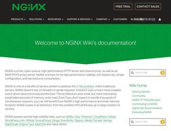 Main page screenshot of wiki.nginx.org