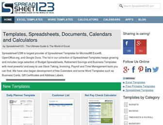 spreadsheet123.com screenshot