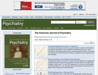 Main page screenshot of ajp.psychiatryonline.org