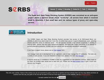 Main page screenshot of sorbs.net