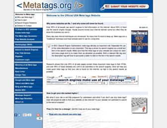 Main page screenshot of metatags.org