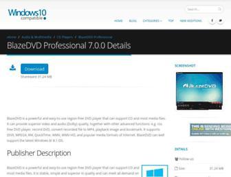 blazedvd-professional.windows10compatible.com screenshot
