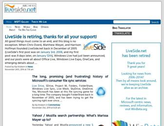 Main page screenshot of liveside.net