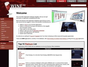 Main page screenshot of appdb.winehq.org