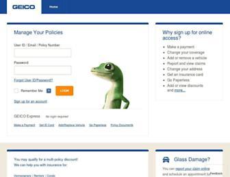 ecams.geico.com screenshot