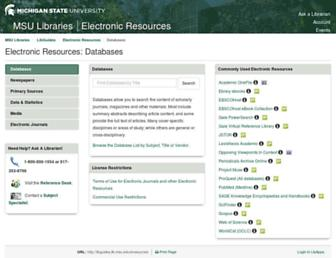 Main page screenshot of er.lib.msu.edu